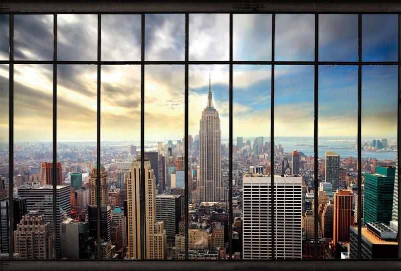 New York derrière les barreaux en trompe-l'œil.