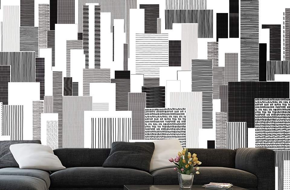 design et contraste en d co murale noir et blanc. Black Bedroom Furniture Sets. Home Design Ideas
