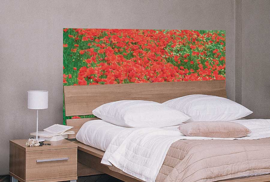 T te de lit id e d co originale en papier peint et claustra - Tete de lit papier peint ...