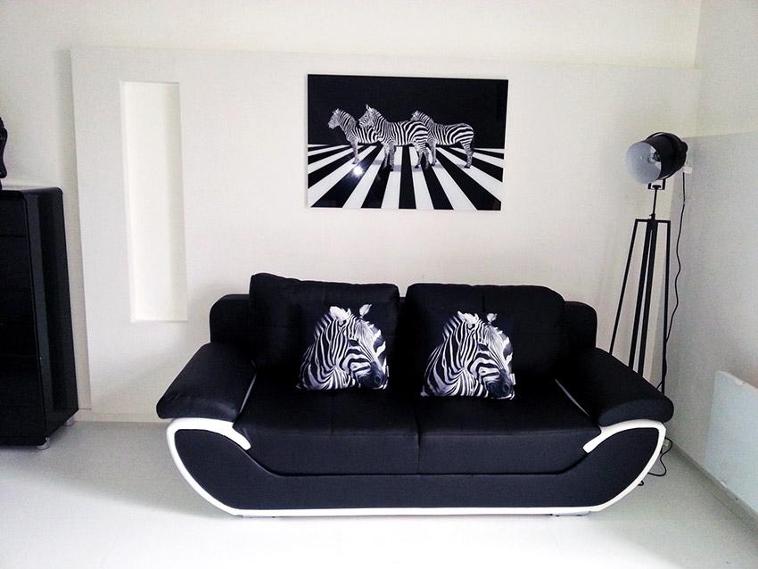 Tableau noir et blanc zébré