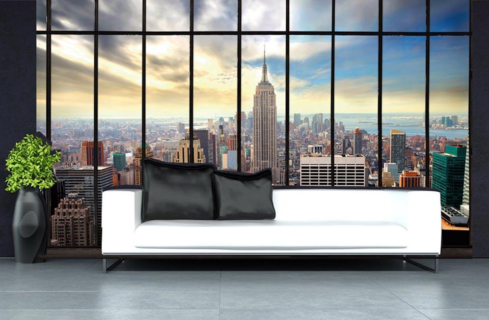 une verri re pour renforcer l 39 effet trompe l 39 oeil dans un d cor mural. Black Bedroom Furniture Sets. Home Design Ideas