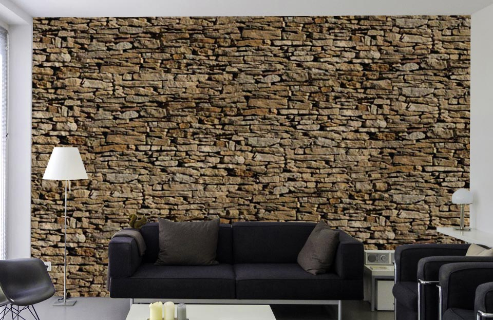 Mur de pierres longues et fines