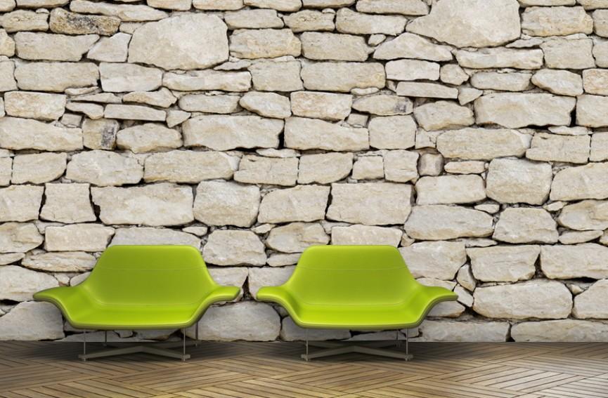 Mur en pierres claires
