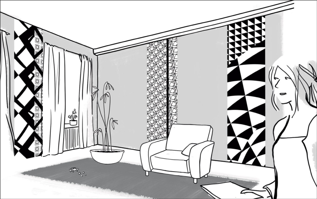 Décor contrasté noir et blanc avec trois lés