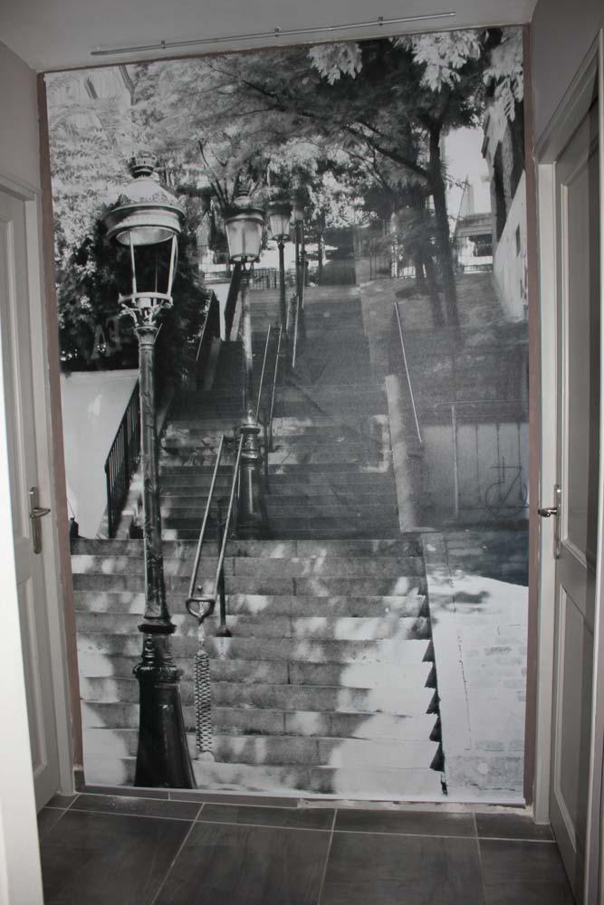 d co dans un couloir poster trompe l 39 oeil escalier. Black Bedroom Furniture Sets. Home Design Ideas