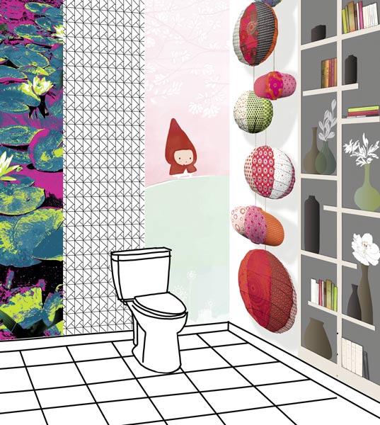 papier peint dans les toilettes WC