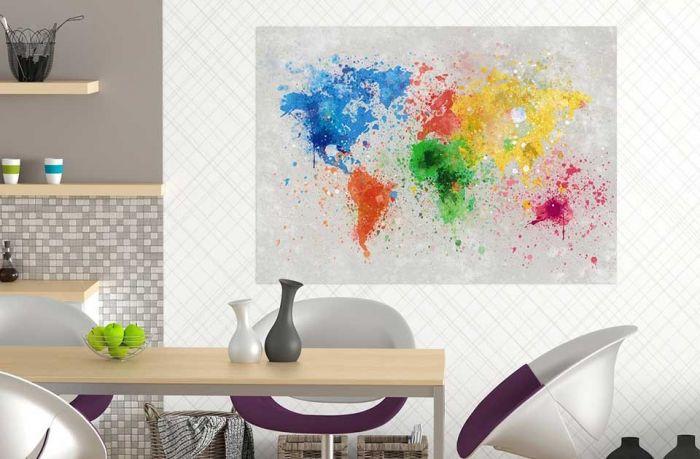 Image déco carte du monde colorée