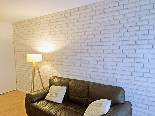 Papier peint briques blanches