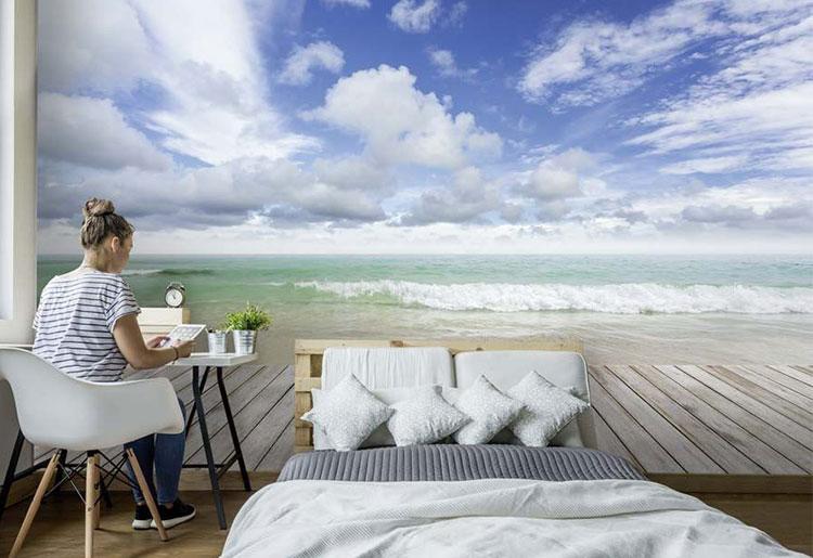 Trompe oeil tête de lit plage et eau turquoise